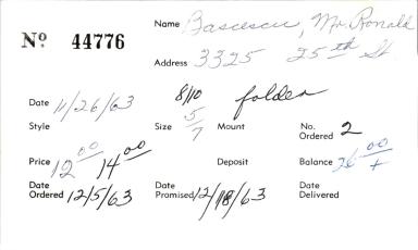 Index card for Ronald Bascescu