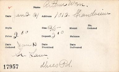 Index card for William Arthur