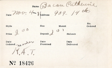 Index card for Catherine Bacon