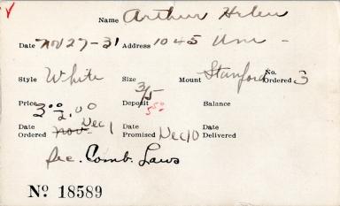 Index card for Helen Arthur