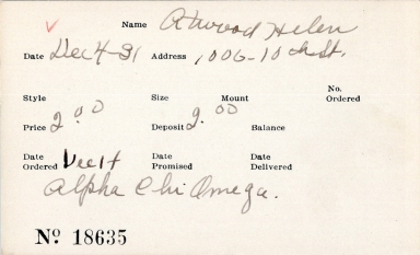 Index card for Helen Atwood