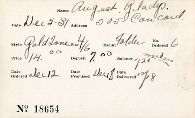 Index card for Gladys August