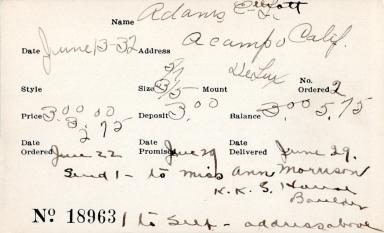 Index card for Elliott Adams, [Sr.?]