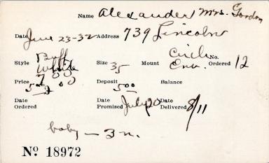 Index card for Mrs. Gordon Alexander