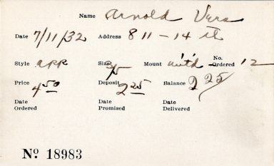 Index card for Vera Arnold
