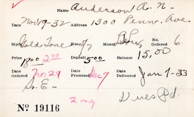 Index card for A. N. Anderson