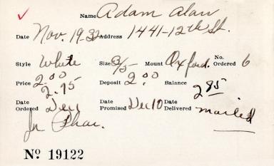 Index card for Alan Adam