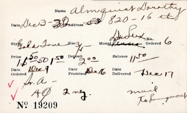 Index card for Dorothy Almquist