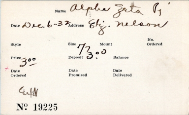 Index card for Alpha Zeta Pi