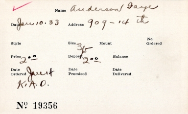 Index card for Faye Anderson