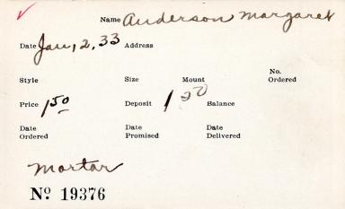 Index card for Margaret Anderson