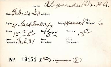 Index card for H. A. Alexander