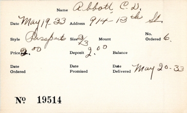 Index card for C. D. Abbott