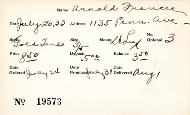 Index card for Frances Arnold