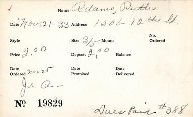 Index card for Ruth Adams