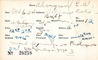 Index card for E. W. Almgren