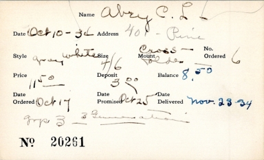 Index card for C. L. Abry