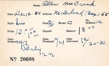 Index card for Mrs. Frank Allen