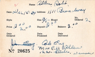 Index card for Robert Allen