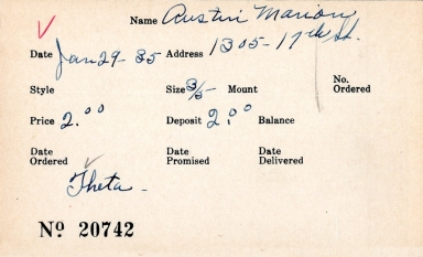 Index card for Marion Austin