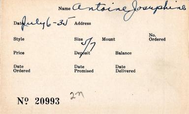 Index card for Josephine Antoine