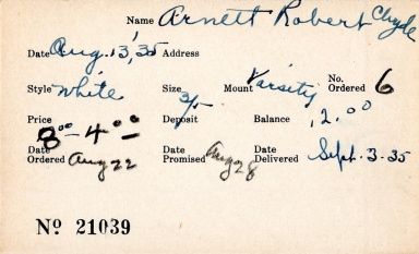 Index card for Robert Clyde Arnett
