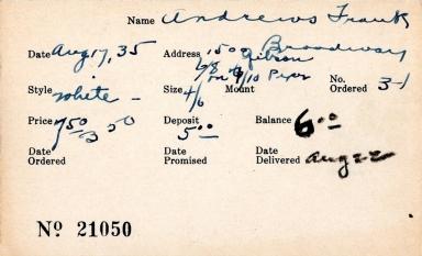 Index card for Frank Andrews
