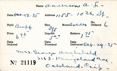 Index card for A. [L.?] Anderson