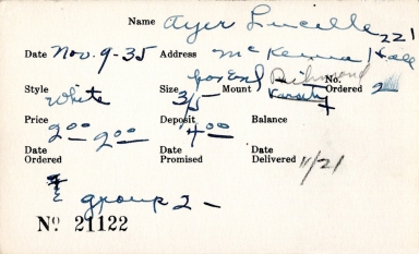 Index card for Lucille Ayer