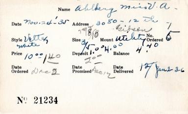 Index card for V. A. Ablberg