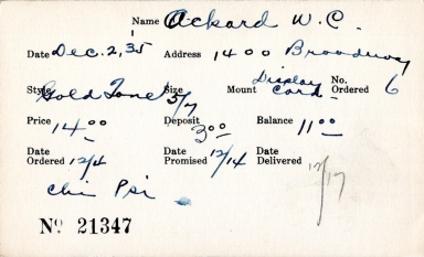 Index card for W. C. Ackard
