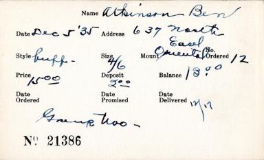 Index card for Ben Atkinson
