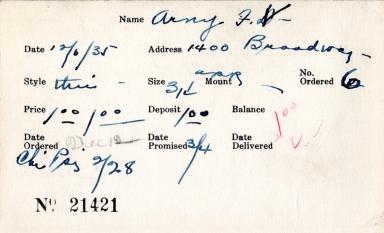 Index card for F. V. Arny