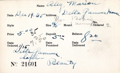 Index card for Marion Aley