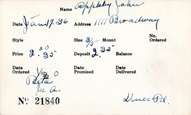 Index card for John Appleby