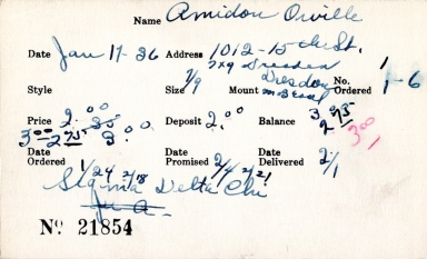 Index card for Orville Amidon