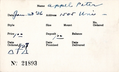 Index card for Peter Appel