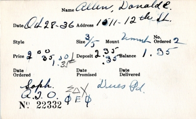 Index card for Donald E. Allen