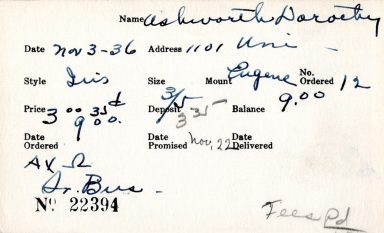 Index card for Dorothy Ashworth