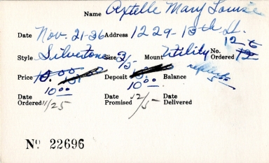 Index card for Mary Louise Axtelle