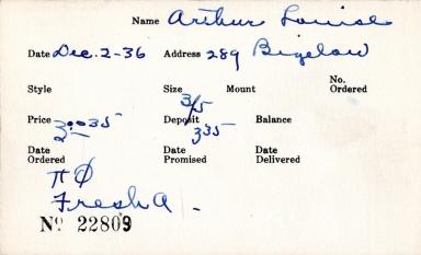 Index card for Louise Arthur