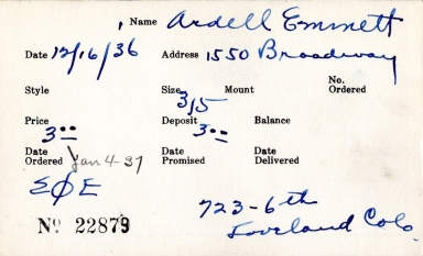 Index card for Emmett Ardell