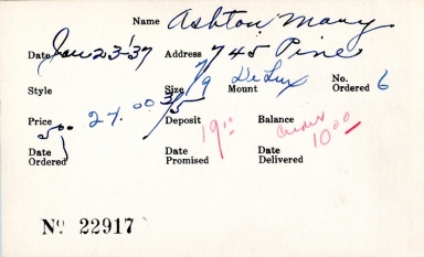 Index card for Mary Ashton