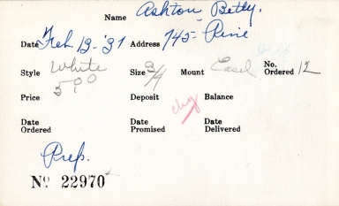 Index card for Betty Ashton