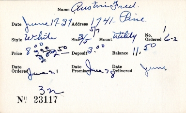Index card for Fred Austin