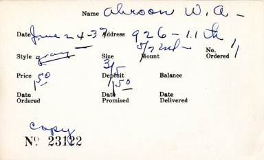 Index card for W. A. Ahroon