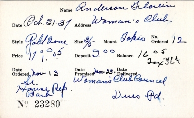 Index card for Florein Anderson