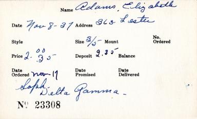 Index card for Elizabeth Adams