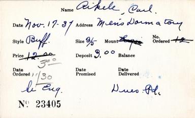 Index card for Carl Aikele