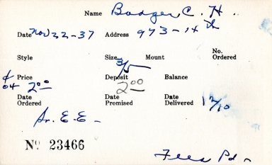 Index card for C. H. Bodger